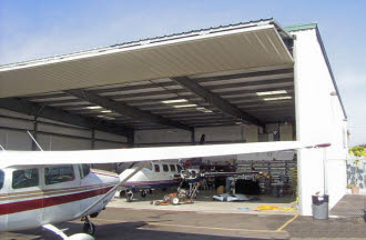 This is a very nice metal airplane hangar.
